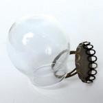 Bague globe en verre Boule vieil or 30 x 30 mm