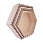 Etagère en bois hexagonale - 3 formats 39 cm à 30 cm