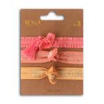 Bracelet élastiques 20 cm Rose 3 pcs
