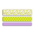Ruban adhésif décoratif Fleurs - Chevrons - Uni Violet & vert 5 m 3 pcs
