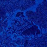 Papier Lokta Imprimé 50 x 75 cm Bleu motif Jungle