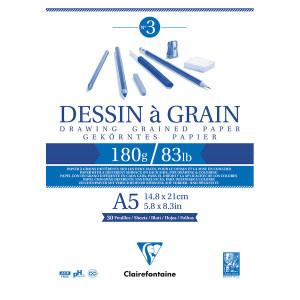 Bloc dessin à grain 180 g/m² - 21 x 29,7 cm (A4)