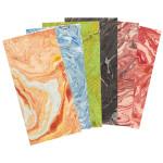 Papier Lokta marbré 51 x 76 cm 80 g/m² - Blanc marbré jaune et orange