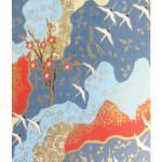 Papier Japonais 52 x 65,5 cm 100 g/m² Grues et cerisiers fond bleu