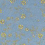 Papier Lokta Imprimé 50 x 75 cm Bleu gris motif Sybille or