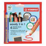 Crayon de couleur Woody Étui 4 couleurs + taille-crayons + chiffon